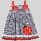 RARE EDITIONS RARE, TOO! Girl's Size 4T Gingham LADYBUG Sundress, Dress