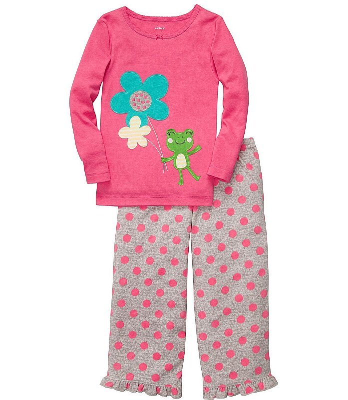 CARTER'S Girl's Size 4T Frog, Flowers Pajama Pants Set, NEW