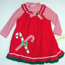 RARE, TOO! Girl's Size 3T Christmas Shirt and CANDY CANE Dress Jumper Set, NEW