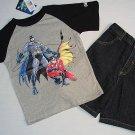 DC COMICS Boy's Size 7 BATMAN T-Shirt, Tee, Denim Shorts Set, NEW