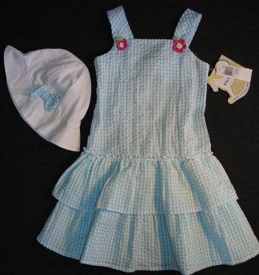 LITTLE BITTY Girl's Size 5 Blue White Gingham Sundress Dress Hat Set, NEW