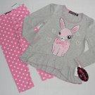 TEMPTED Girl's Size 4 Gray BUNNY Tunic Shirt, Pink Dot Leggings Set, NEW