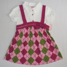NANNETTE Giril's Size 3T Mock Top, Argyle Pink Skirt, Dress, NEW
