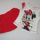 DISNEY BABY Girl's Size 5 MINNIE MOUSE Shirt, Red Skort Outfit, Set, NEW