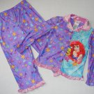 DISNEY Girl's 4T LITTLE MERMAID ARIEL FLOUNDER Flannel Coat Pajama Set, NEW