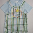 FIRST MOMENTS Boy's 3 Months LION King Crown Shortalls, Blue Polo Shirt, NEW