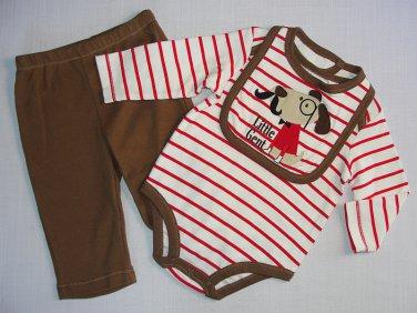Boy's Size 3-6 Months LITTLE GENT Dog Bib, Striped Shirt, Pants Set, NEW