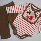 Boy's Size 0-3 Months LITTLE GENT Dog Bib, Striped Shirt, Pants Set, NEW
