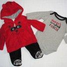 LITTLE WONDER'S 0-3 Months RACCOON Fleece Jacket, Outfit, Pants Set, NEW