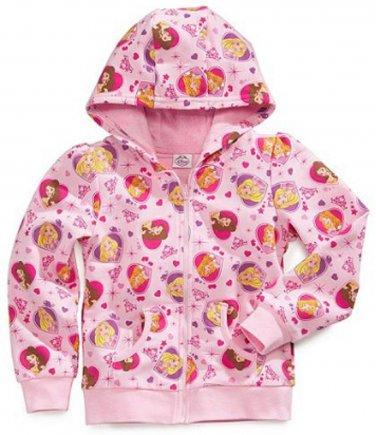 DISNEY PRINCESS Girl's Size 3T Pink Hooded Jacket Hoodie Faux Fur, NEW