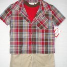 KIDGETS Boy's 12 Months Red Plaid T-Shirt, Khaki Shorts 3-Piece Set, Outfit, NEW