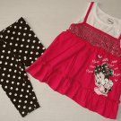 DISNEY BABY Girl's 3T MINNIE MOUSE Sequin Top, Dot Capri Outfit Set, NEW