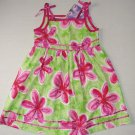 BLUEBERI BOULEVARD Girl's Size 5 Fuschia Pink, Green Floral Sundress, Dress, NEW