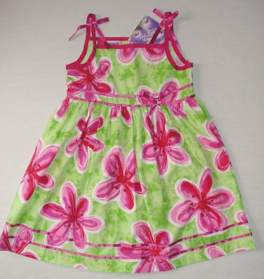 BLUEBERI BOULEVARD Girl's Size 5 Fuschia Pink, Green Floral Sundress, Dress, NEW