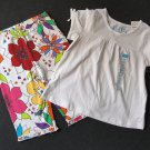 THE CHILDREN'S PLACE Girl's 3T White Swing Top, Shirt, Floral Pants Set, NEW