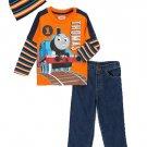 THOMAS And FRIENDS Boy's Size 3T Shirt, Denim Jeans, Knit Beanie Hat Set