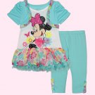 DISNEY Girl's Size 4T MINNIE MOUSE Shrug Tunic, Leggings Set, Outfit, NEW
