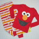 SESAME STREET Boy's 4T ELMO Full Graphic Pajama Striped Pants Set, NEW