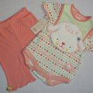 BABY BON BEBE 3-6 Months 3-Piece Outfit, Pants Lamb Bib, Set, NEW