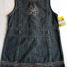 TKS Girl's Size 4T Blue Denim Jumper with Floral Embroidery, NEW