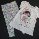 KIDTOPIA Girl's 3T DIVA Girl Puppy and Butterfly Shirt and Capri Pants Set, NEW