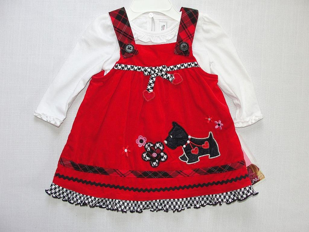 YOUNGLAND Girl's 12 Months SCOTTIE Terrier Corduroy Dress Jumper Shirt Set, NEW