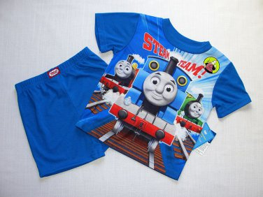 THOMAS And FRIENDS STEAM TEAM Boy's 4T Pajama Shorts, Pants, Top Set, NEW
