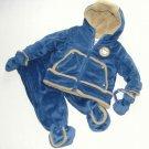 PROTECTION SYSTEM Boy's Size 0-6 Blue Velour Sherpa 2-Piece Snowsuit, Pram NEW