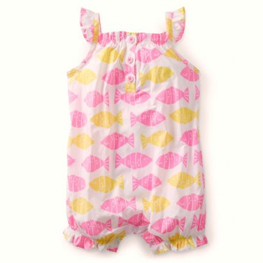 CARTER'S Girl's 12 Months White Pink Fish Sea Summer Romper, Sunsuit, NEW
