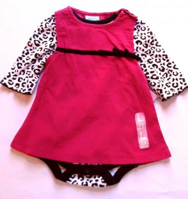 BON BEBE GIrl's 6-9 Months Leopard Print Bodysuit, Pink Dress Jumper Set, NEW