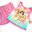 DISNEY PRINCESS Girl's Size 3T Pajama Shorts Set, Belle, Jasmine, Cinderella NEW