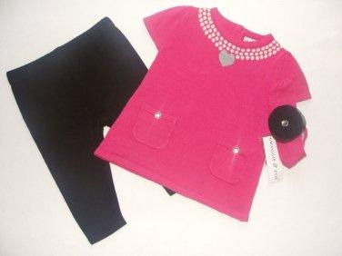 MAGGIE And ZOE Girl's 3-6 Months Pink Sweater Dress Tunic, Pants Headband Set