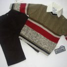 BOYZ By NANNETTE Boy's 12 Months Dress Shirt, Sweater, Corduroy Pants Set