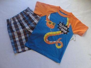 TOUGHSKINS Boy's 4T Snake CLEVER LIL DUDE Shirt Plaid Shorts Outfit, Set