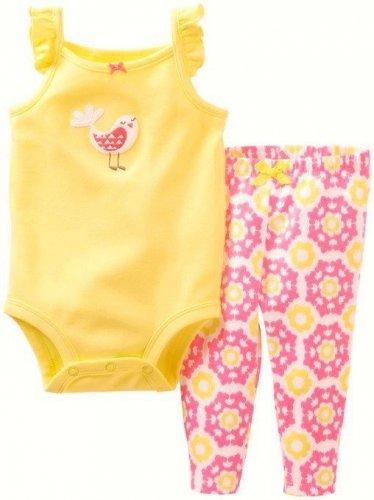 CARTER'S Girl's 3 Months Yellow Bird Tank Shirt, Hot Pink Floral Pants Set,