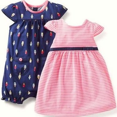 CARTER'S Girl's 6 Months Navy Ice Cream Cone Romper Pink Striped Dress Set,