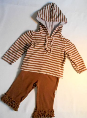 VITAMINS BABY Girls' 6 Months Striped Brown Hooded Shirt, Pants Outfit