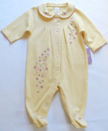 CARTER'S Girl's 3 Months Yellow Floral Footed Romper, One-Piece, NEW