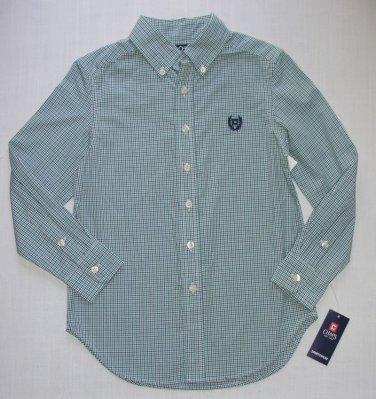 Chaps by Ralph Lauren Boys Size 8 Plaid Blue Button Down Dress Shirt S (8)