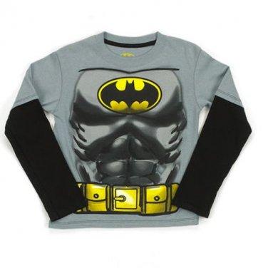 DC COMICS Boy's Size 5/6 Batman Hooded Masked Long-Sleeved Shirt,