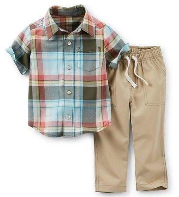 CARTER'S Boy's Size 4T Turquoise, Orange Plaid Shirt, Gray Pants Set, NEW