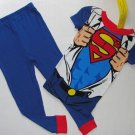 DC COMICS Boy's Size 4 SUPERMAN Costume Short-Sleeved Pajama Top Pants Set
