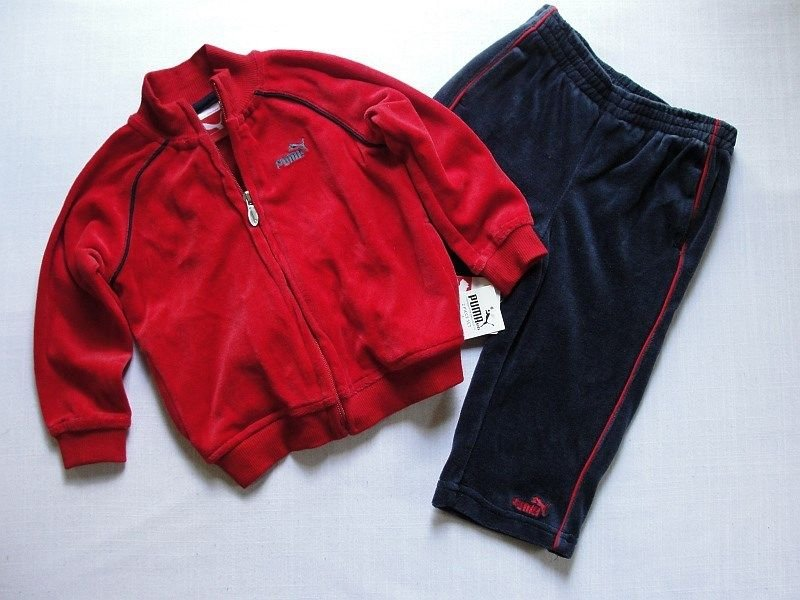 PUMA Boy's Size 18 Months Red and Blue Velour Athletic Zipper Jacket Pants Set