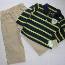 CARTER'S Boy's 18 Months CAPTAIN ADORABLE Striped Polo Shirt, Khaki Pants Set