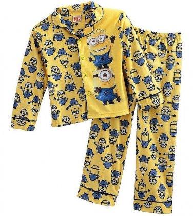 DISNEY DESPICABLE ME MINIONS Boy's Size 6 Flannel Coat Pajama Set
