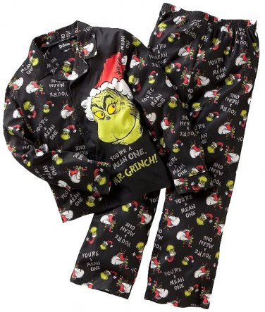 DR. SEUSS THE GRINCH Boy's Size 4 Flannel Coat Pajama Set
