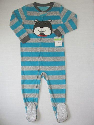CARTER'S Boy's Size 4T BULLDOG, DOG Fleece Footed Pajama Sleeper