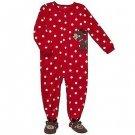 CARTER'S Girl's Size 3T Red Polka Dot Fleece Reindeer Pajama Sleeper, NEW
