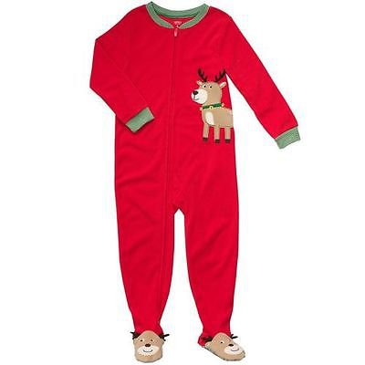 CARTER'S Boy's Size 3T Microfleece Red Christmas Reindeer Pajama Sleeper, NEW