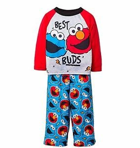 Boy's 2T, 3T OR 4T Sesame Street ELMO and COOKIE MONSTER Best Buds Pajama Set